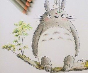 art, totoro, and drawing image