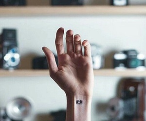camera, hand, and tattoo image