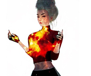 avatar, fire, and female image