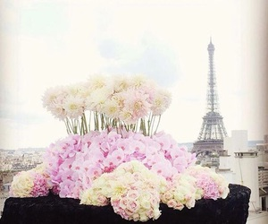 eiffel tower, flowers, and france image