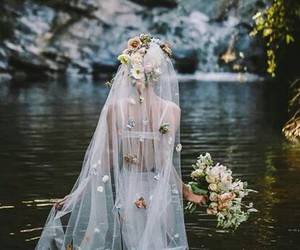 flowers, wedding, and bride image