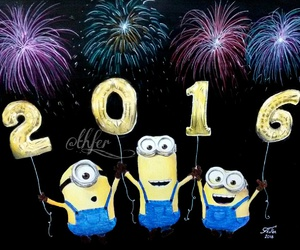 2016, fireworks, and minions image