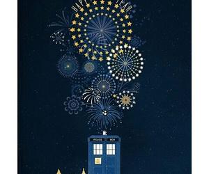 doctor, fireworks, and tardis image