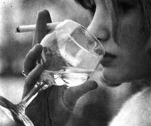 wine, cigarette, and girl image