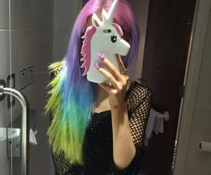 unicorn, hair, and rainbow image