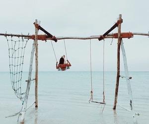 ocean, summer, and swing image