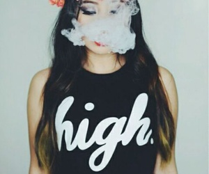 girl, smoke, and high image