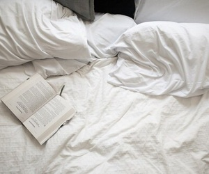 bed, tired, and book image
