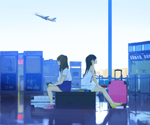 anime, art, and airport image