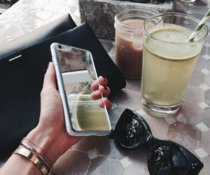 iphone, drink, and sunglasses image