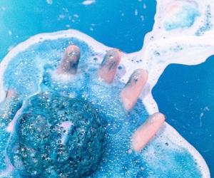 blue, bath, and bath bomb image