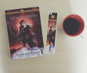 book, coffe, and percy jackson image