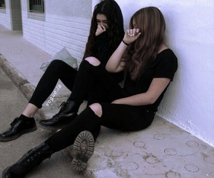 girl, black, and friends image