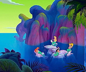 background, cartoon, and mermaid image
