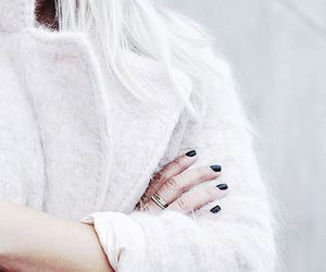 black nails, bright, and chic image