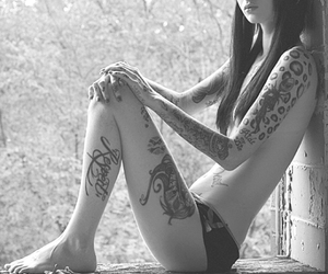 alternative, inked, and black and white image