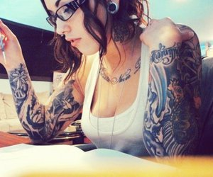 alternative, hairstyle, and inked image