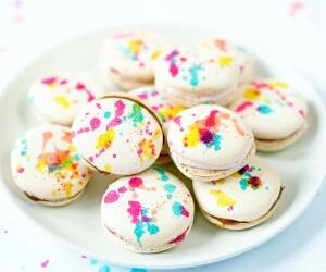 food, macarons, and colorful image