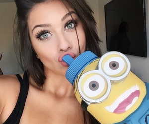 girl, minions, and eyes image
