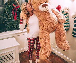 girl, bear, and christmas image