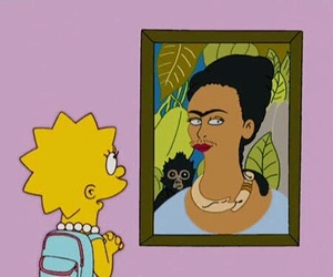 frida kahlo, the simpsons, and art image