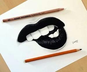 art, black, and lips image