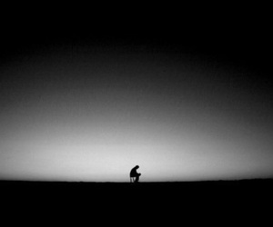 alone, black and white, and black image