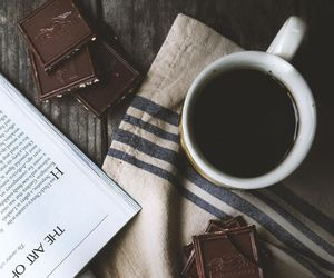 book, chocolate, and drink image