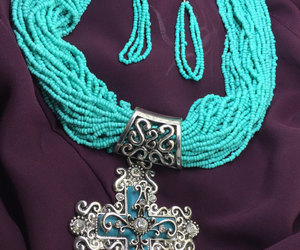 beaded necklace, turquoise jewelry, and christian jewelry image