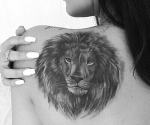 tattoo, lion, and girl image