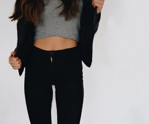 black, high waist, and outfit image