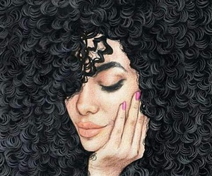 drawing, curls, and hair image