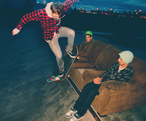 boy, skate, and night image
