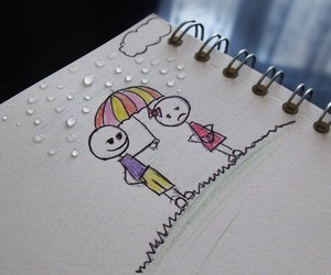 drawing, umbrella, and notebook image