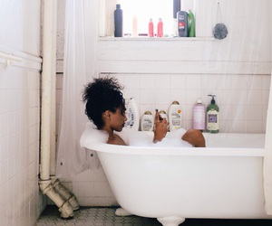 girl, bath, and indie image
