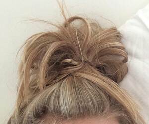 hair, bun, and brown image