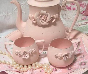 pink, tea, and vintage image