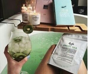 bath, green, and green tea image