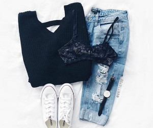 bra, converse, and lace bra image