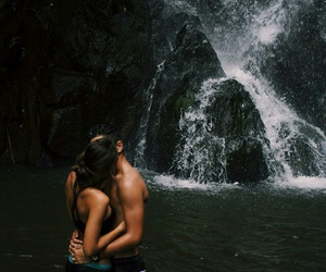 couple, couples, and waterfall image
