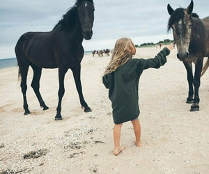 horse, beach, and girl image