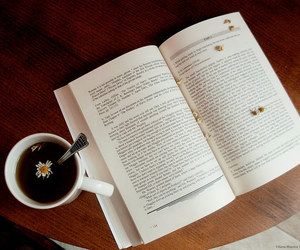 book, coffee, and love image