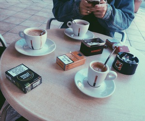 coffee, friend, and lucky strike image