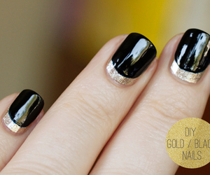 gold, nails, and black image
