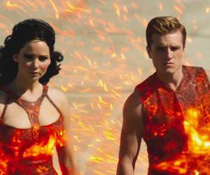 catching fire, peeta, and katniss image