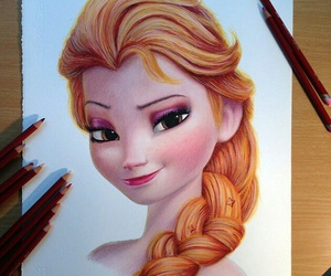 frozen, drawing, and elsa image