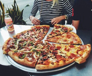 big, delicious, and pizza image