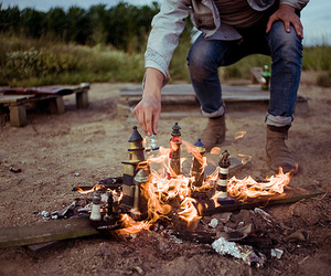 fire, boy, and photography image