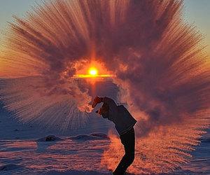 snow, sun, and sunset image