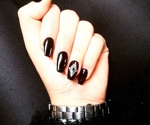 black, classy, and crystal image